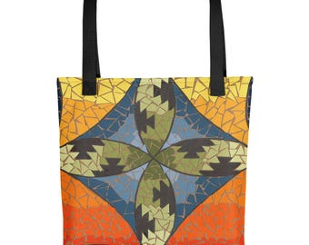 San Felipe Mosaic - Amazingly beautiful full color tote bag with black handle featuring children's donated artwork.