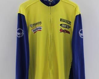 Vintage 90's BERIK DESIGN Pullover Sweater Men Medium Ofxcorse Racing Sportwear Zipper Turtleneck Racing Motorsport Yellow Jumper Men Size M