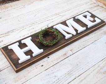 Wooden Home sign - Farmhouse Decor - Grapevine wreath, mantle decor, Housewarming gift, entryway decor, christmas gift