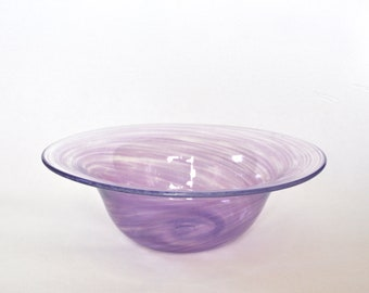 Hand Blown Glass Bowl: Pastel Purple Glass Vessel, Spring Decor, Easter Gift, Flower Vase Art by Graham Judge