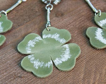 Keychain leather 4 clover leaves, lucky charm