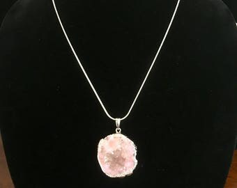 "18"" Pink/Silver Crystal Necklace"