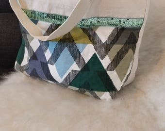 Tote bag cotton canvas with sequin trim