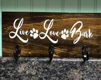Custom sign-personalized sign-wood sign-leash holder-key holder-wall hanging