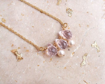 Pink Crystal Necklace Pearl Pendant Swarovski Jewelry Layered Necklace