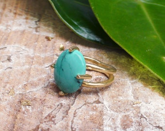 Large Turquoise Ring Natural Turquoise Stone Ring for Women Boho Chic in 18K Gold Plated