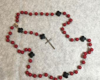 Red and Black Bead Rosary