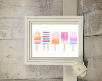 Popsicle Print - Icecream Print - Popsicle Art - Summer Printables - Kitchen Print - Ice Cream Art - Watercolor Wall Art - Girls Room Decor