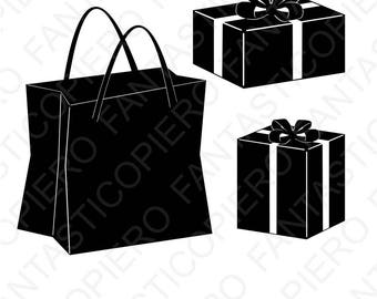 Shopping bag SVG and Present SVG files for Silhouette Cameo and Cricut. Gift bag, Christmas Shopping, presents clipart PNG included.