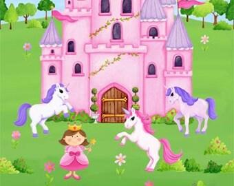 Fabric, Little Princess Panel, Northcott Studio, Pink, Purple, Unicorns, Girls Room