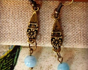 Adorable Aquamarine and Antique Gold Dangle Earrings