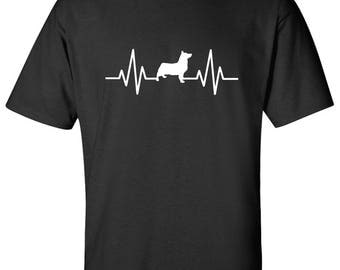 Heartbeat Pembroke Welsh Corgi Dog Logo Graphic TShirt