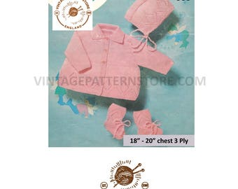 """Babies, lacy hem, raglan matinee coat with matching bonnet & bootees - 18"""" - 20"""" chest - Vintage PDF Knitting Pattern 988"""