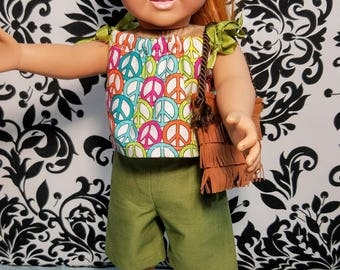 18 Inch Doll Clothes-Green Shorts and Mid-drift Top