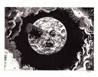 Art Print of pen/Ink painting by Raquel Gomes, from the silent movie The Trip to the Moon (Le Voyage dans la Lune) by Georges Méliès.