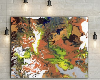 """Acrylic Pour Artwork // Abstract Art // Acrylic Painting // Original Painting // Wall Art // Home Decor // Colorful Art // """"Orange Marble"""""""