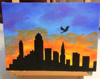 """Sunset over the city"", acrylic 23 * 31 cm"