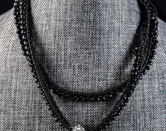 Black swarovski crystal and seed bead necklace or wrap bracelet