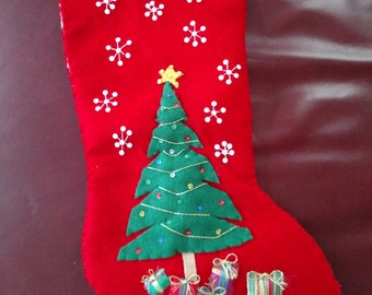 Christmas Tree Felt Stocking