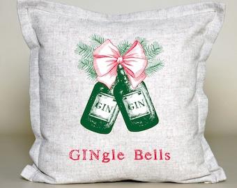 Gin Christmas Cushion | Funny Xmas Cover | Jungle Bells Pillow | Christmas Decoration | Christmas pillow | Family christmas gift | Linen