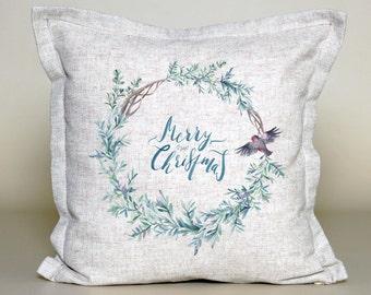 Christmas Wreath Pillow | Christmas Pillow | Holiday Pillow | Christmas Gift | Rustic Home Decor | Holiday Decor | Christmas Decor