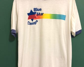 Vintage Blue Star Camps T-shirt / Retro Jewish Camp T Shirt