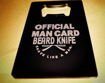 Official man card bottle opener. Beard Knife Bottle Popper 12% discount for Bitcoin