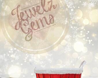 Santa Basket Digital Backdrop, Santa Basket Digital Background, Christmas Digital Backdrop, Christmas Digital Background, Glitter Backdrop
