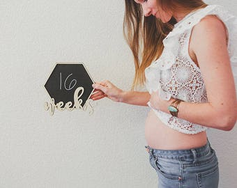 Pregnancy Weeks Countdown Chalkboard Sign - Milestone Bump Board by From A Little Acorn