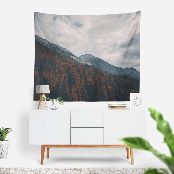 Innsbruck Tapestry   Nature Tapestry   Mountains Wall Decor   Clouds   Boho Tapestries   Landscape   Photo Tapestry   Forest Wall Art