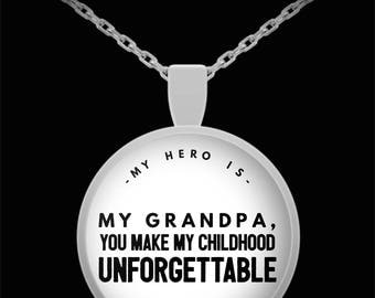 MY HERO is my GRANDPA! Amazing Silver Plated Necklace