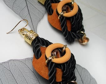 STATEMENT Rusty Suede Black Cord Fashion Earrings For Special Occasion