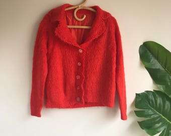 Vintage Orange Mohair Lined Cardigan Sweater