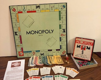 1936 Monopoly Game & Board - Canadian/USA Patent, Wooden Pieces
