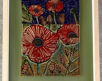 Poppies in a Field at Night