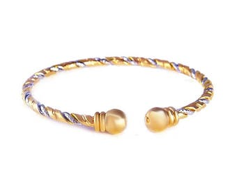 18K Gold Plated Twisted Bangle from GOLDFOR10