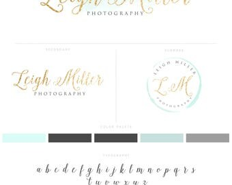 Gold and Mint Photography Logo, Photography Design Branding Package Modern Gold Watermark Stamp and Script Style Initials Logo  020