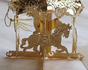 "Vintage Danbury Mint ""Christmas Carousel"" 4-20 kt Gold Horses"