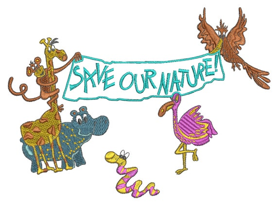 Save Our Nature Animals Embroidery Design Designs Machine Embroidery