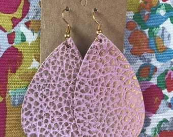 Pink & Gold pebbled teardrop Leather Earrings