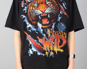Tiger T-shirt - vintage rock shirt - Forever wild roaring tiger shirt wildlife - 90s 1990s - Rock eagle - Heavy metal rock Tshirt - Size XXL