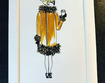 A5 mounted fashion watercolour sketch