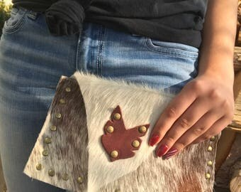Cowhide on Leather Clutch Brown and White Bag