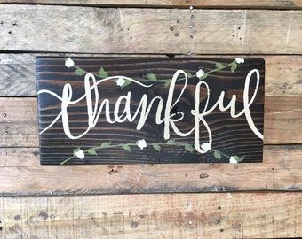 "Thankful Cedar Wood Sign - Home Decor for living room, kitchen, family room - 7"" x 15"" size, 1.5"" thick"