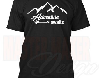 Adventure awaits shirt Tee Nomad Travel Gypsy hike climb decal sticker Laptop Window Car Truck woods vegan vegetarian simple clean