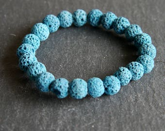 Spiritual Lava Rock Healing Diffuser Yoga Bracelet Light Weight Dyed Light Aqua Blue