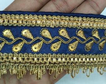 Fringe Trim Embroidered Trim Indian Saree Border Blue Trim By The Yard Golden Trim Fabric Trims and Laces Costume Trim Lace Gift Hobby Idea