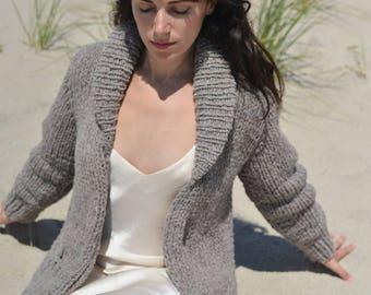 Handmade / Hand Knitted Chunky Wool House Sweater - Long Cardigan - Soft, Warm & Cozy