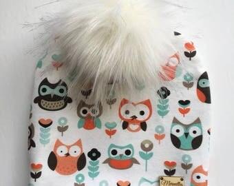 Interchangeable tassel, owl, fur, child Hat