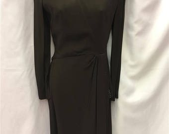 1940s Brown Day Dress with Pleat and Bead Detail ~ Size 8-10 ~ Vintage
